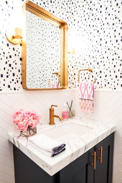 ideias decoracao dourado banheiro