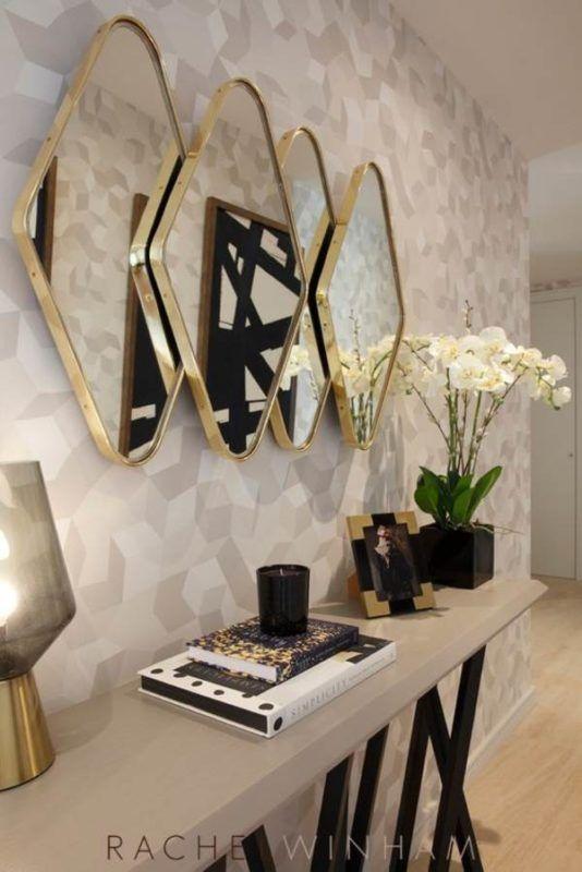 ideias decoracao dourado espelho