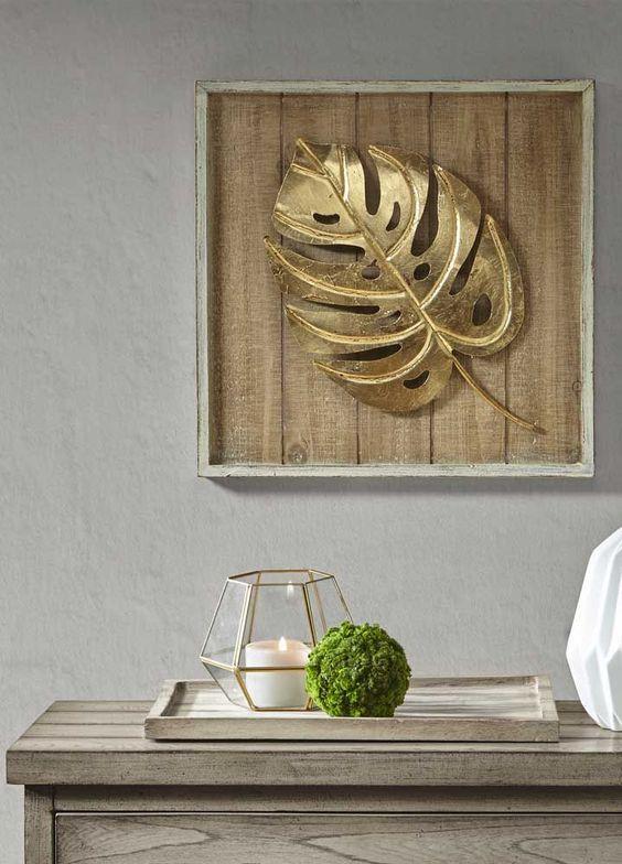 ideias decoracao dourado quadro