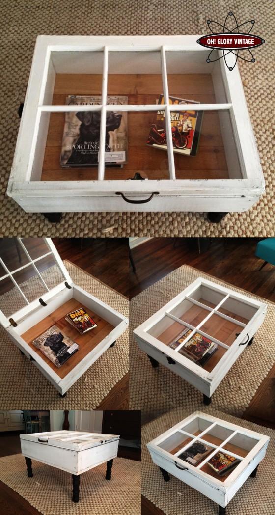 mesa feita com janela reciclada
