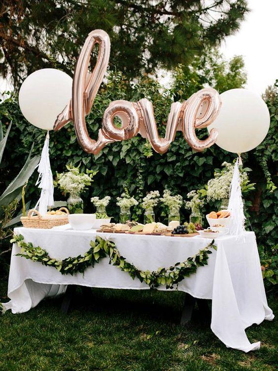 mesa festa noivado decorada