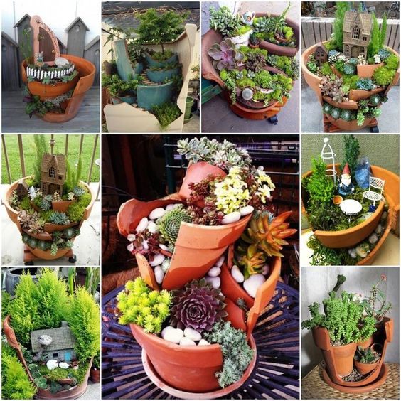 ideias baratas jardins:10 Ideias de Mini Jardins com Suculentas