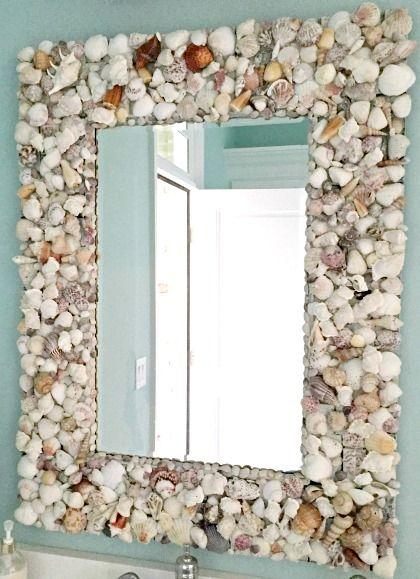 moldura para espelho conchas banheiro