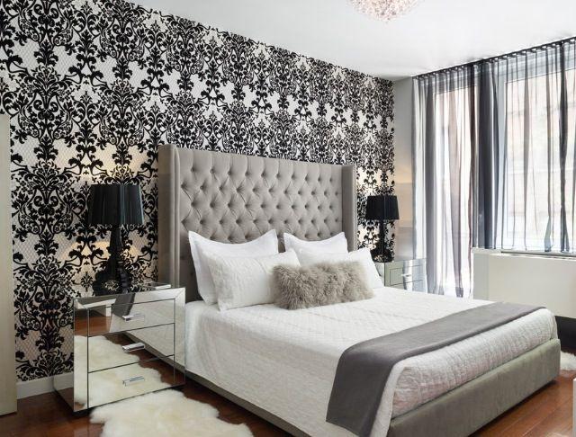 papel de parede preto e branco para quarto