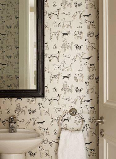 paredes decoradas tecido banheiro
