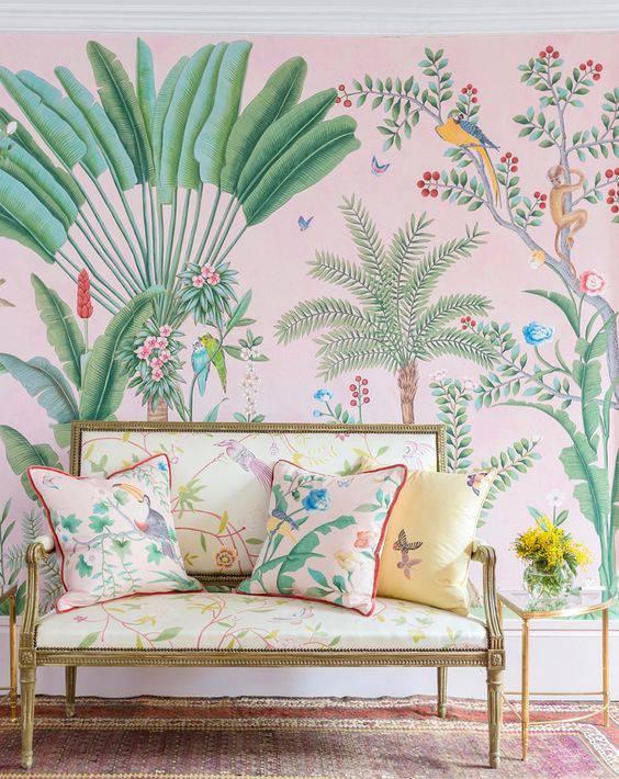 paredes decoradas tecido floral