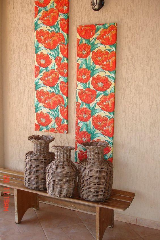 paredes decoradas tecido quadros