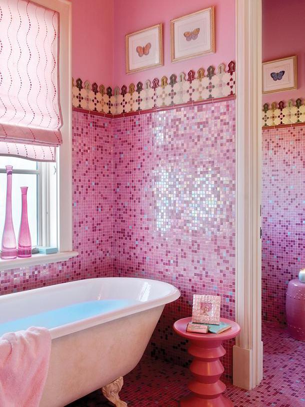 pastilhas em rosa para banheiro