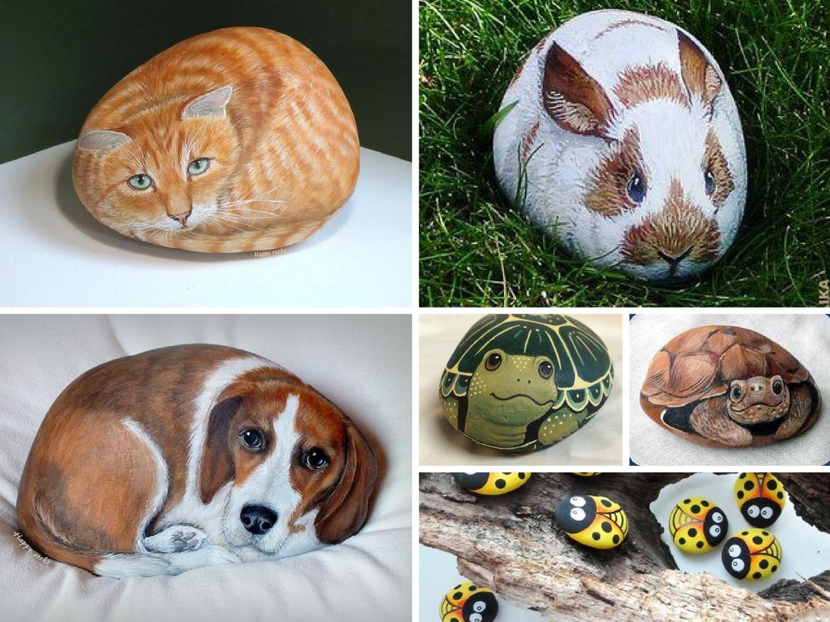 pedras pintadas animais
