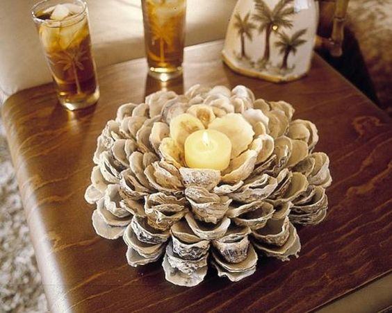 porta velhas com conchas de ostra