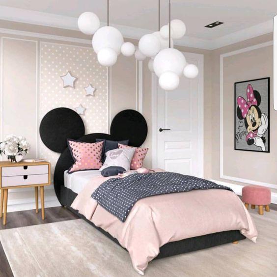 quarto decorado minnie adulto cabeceira