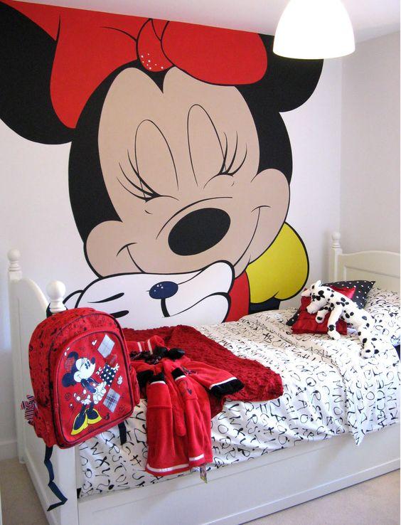 quarto decorado minnie crianca papel parede