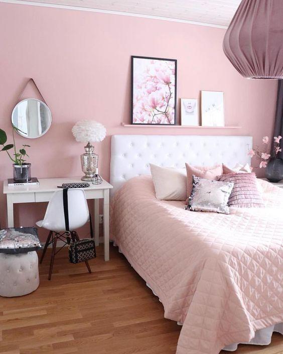 quarto rosa adulto branco