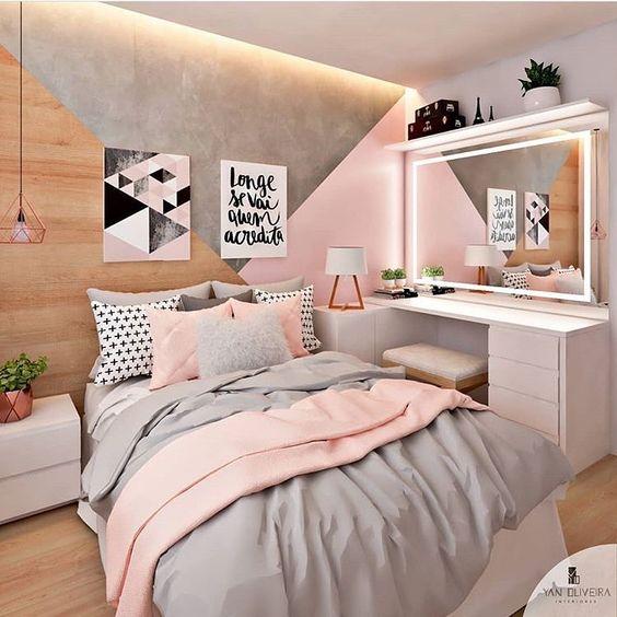 quarto rosa adulto cinza