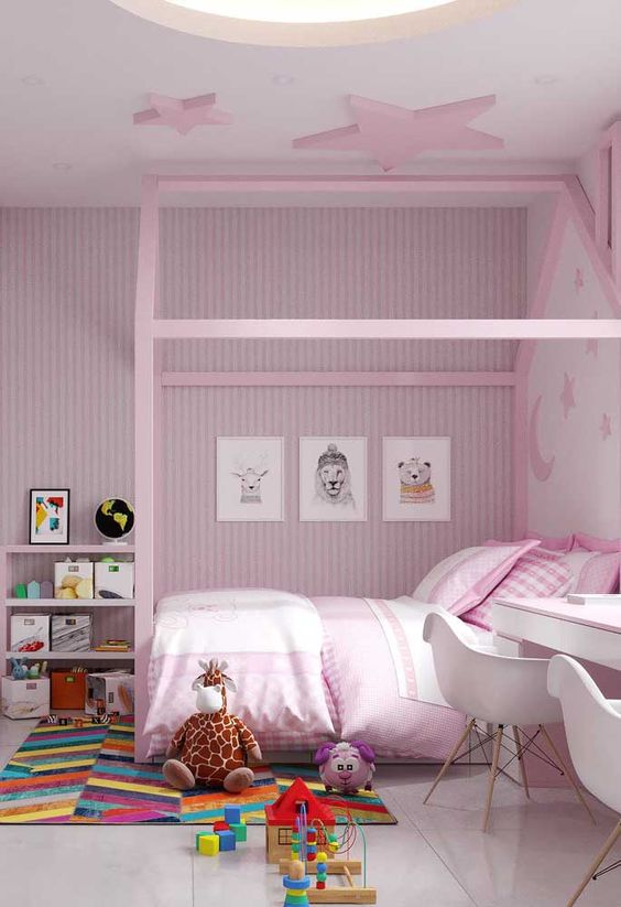quarto rosa menina branco