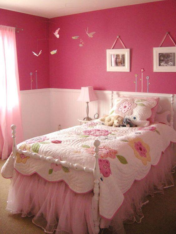 quarto rosa menina simples menina