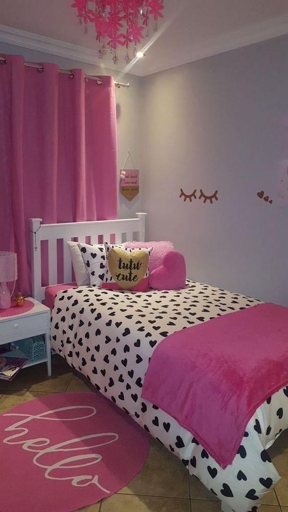 quarto rosa pequeno ideias