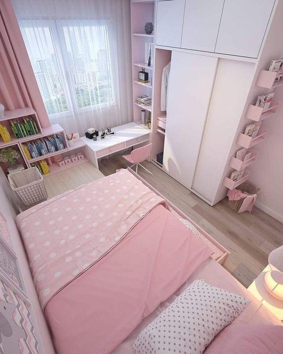 quarto rosa pequeno inspiracao