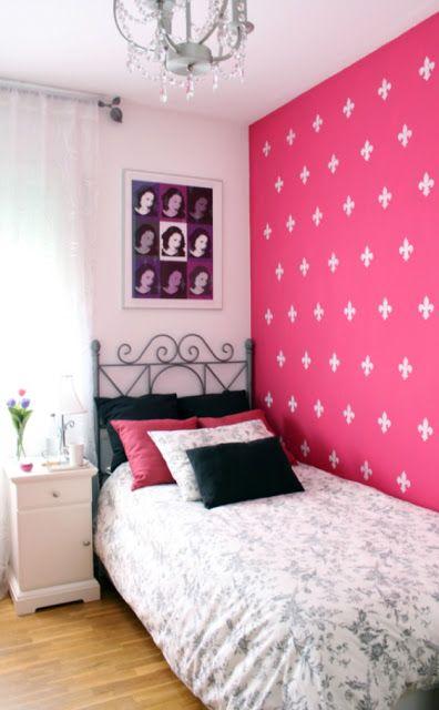 quarto rosa simples preto