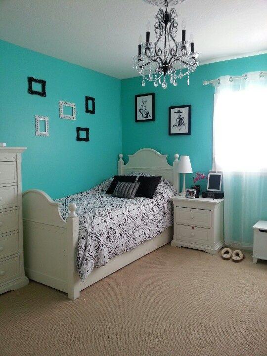 quartos decorados azul turquesa adolescente