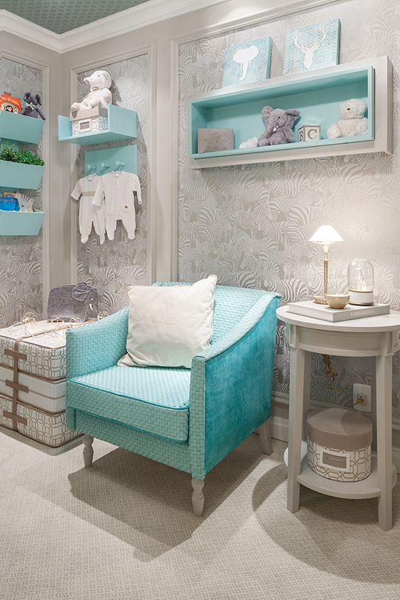 quartos decorados azul turquesa bebe