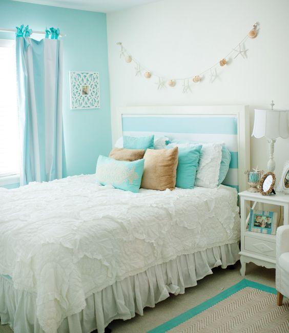 quartos decorados azul turquesa solteiro