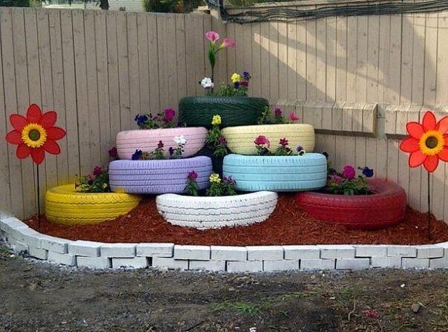 reciclagem de pneus jardim
