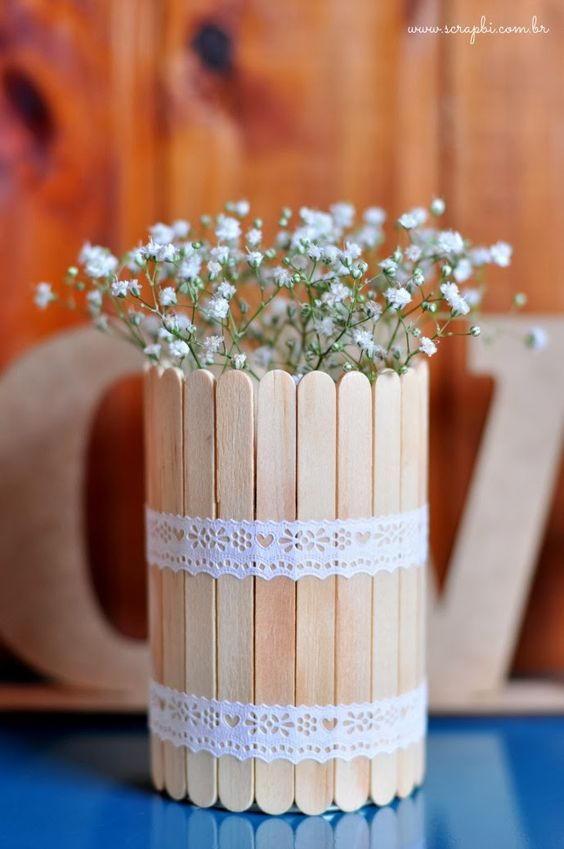 reciclagem palitos sorvete porta flores