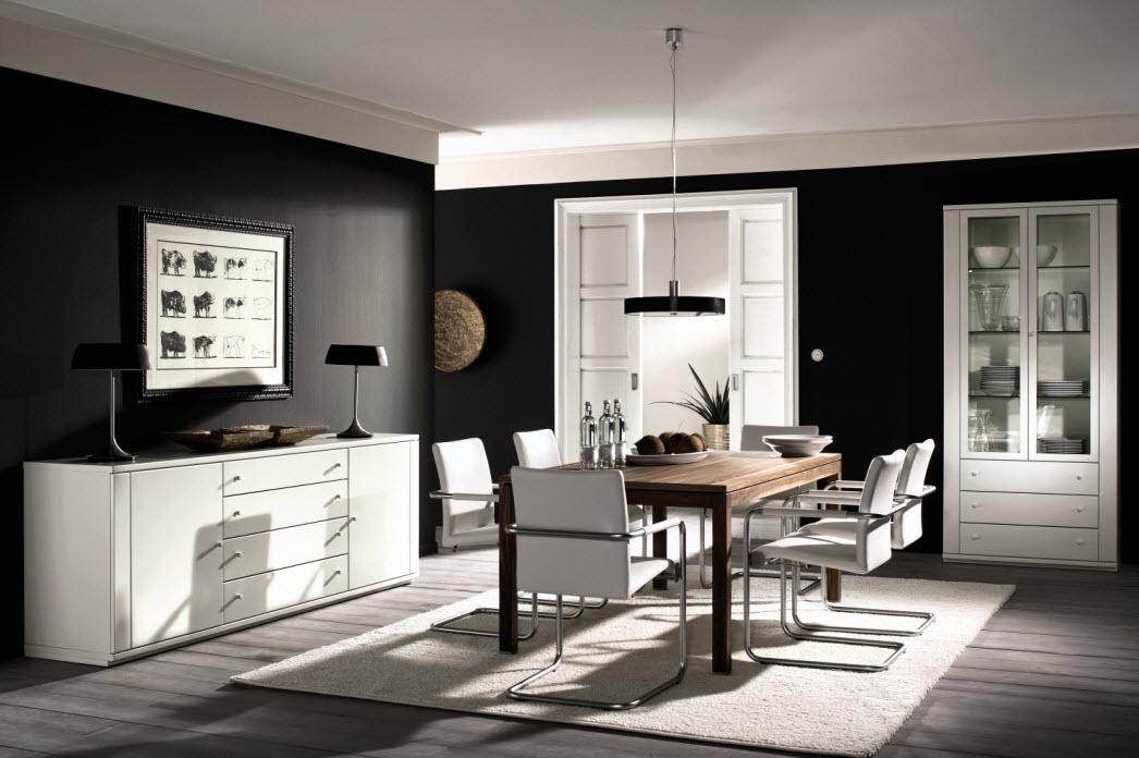sala de jantar tons preto e branco