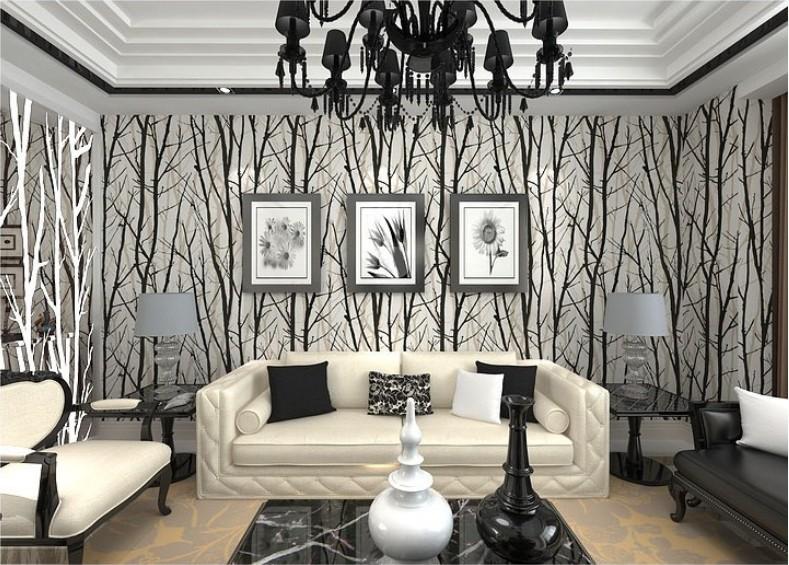 sala moderna com papel de parede