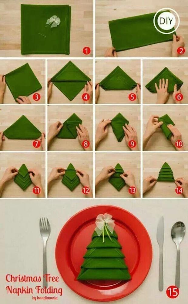 tutorial dobrar guardanapo arvore de natal