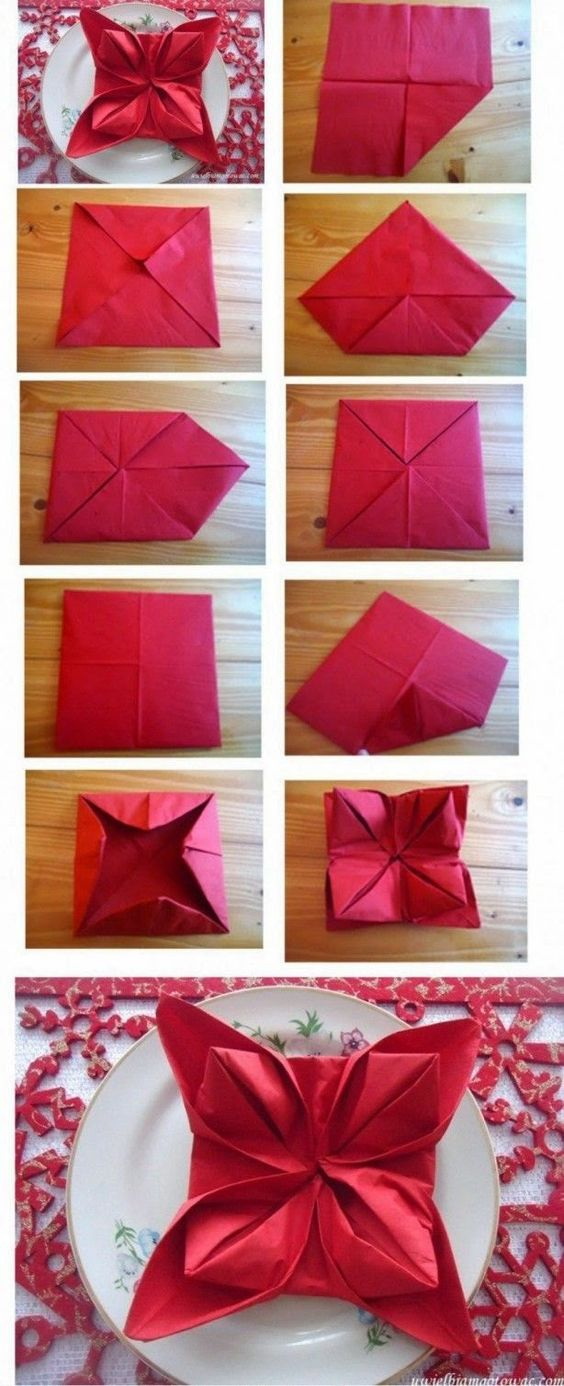 tutorial dobrar guardanapo flor