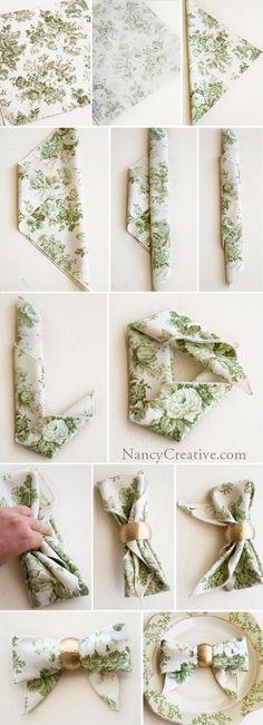 tutorial dobrar guardanapo laço