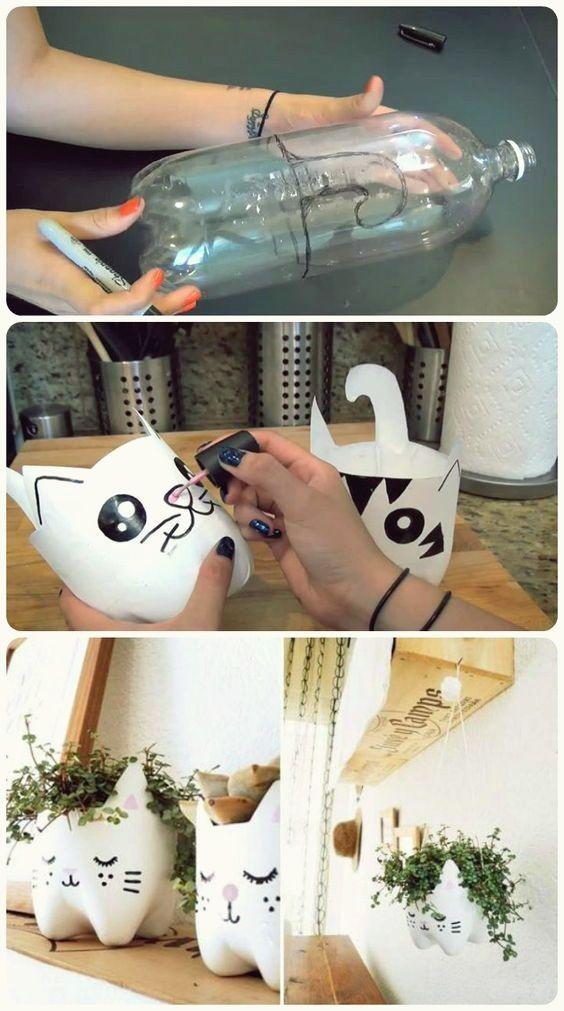 vaso garrafa pet gato